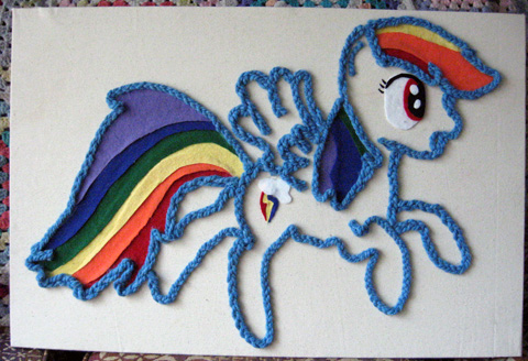 Rainbow Dash Yarn Painting
